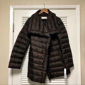 Tahari Chloe Quilted Leopard Down Coat